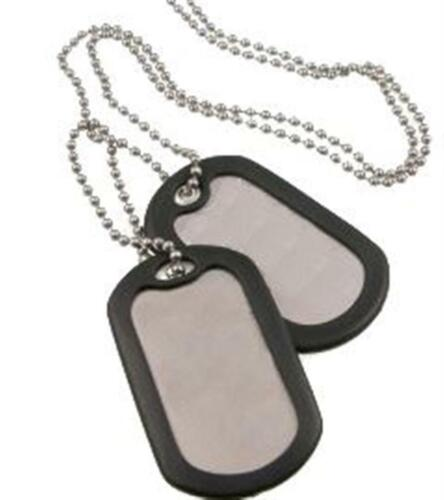 Dog Tag Tags 2 Large + Chain + 2 Silencer Silver Military ID GI Army Style SteelModern, Current - 36066