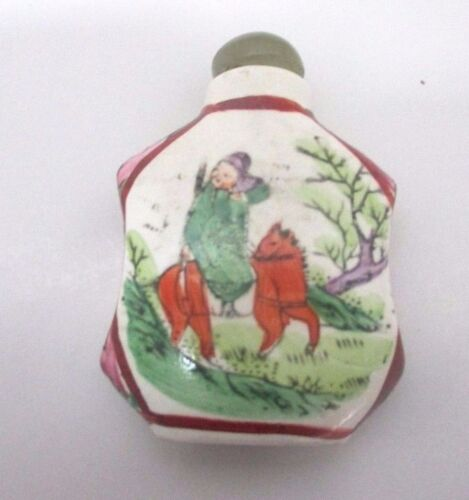 Hand Painted Porcelain & Jade Chinese Snuff Bottle Gold Plating Man On Horse