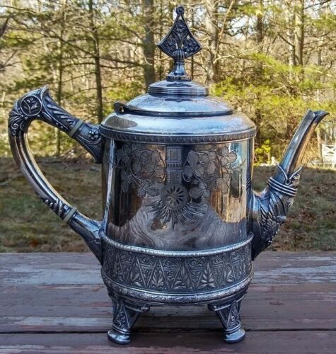 MERIDEN B. COMPANY - ANTIQUE AESTHETIC SILVER PLATED TEAPOT