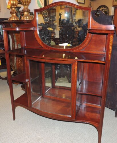 Unusual English Étagère mahoganycabinet sideboard curio buffet w mirror