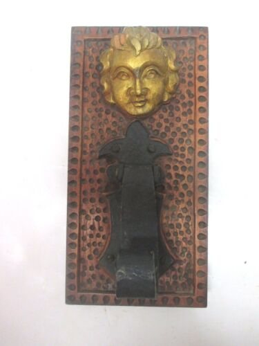 Wooden Carved Gilt Face With Cast Iron Door Knocker Wall Hanging Table Decor