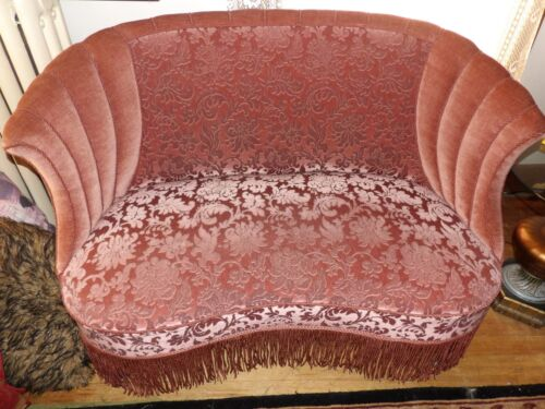 Antique loveseat and 2 chairs pink velvet damask from UK  WOW!!!!