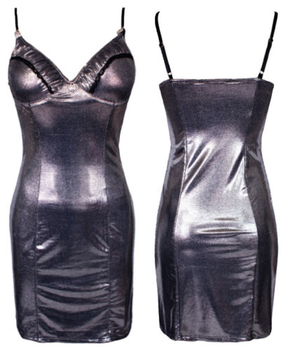 Ladies Metallic Dress Silver Shiny Strappy Busty Fitted Mini Bodycon Party Dress