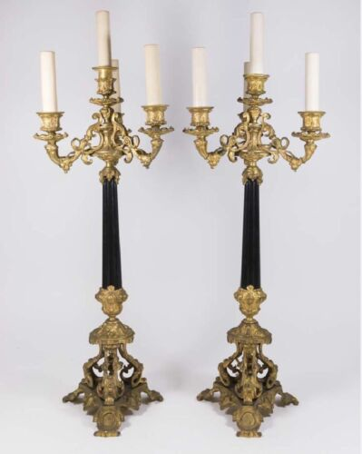 Antique Pair French Empire Napoleonic Bronze Candelalbras Lamp Torchieres