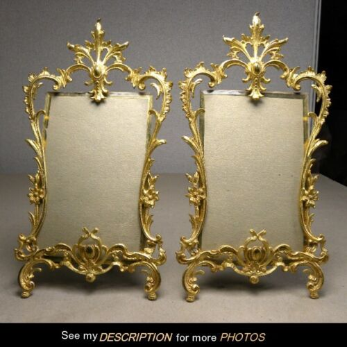 Great Ornate Pair Antique Victorian Gilded Rococo Cabinet Card Picture Frames