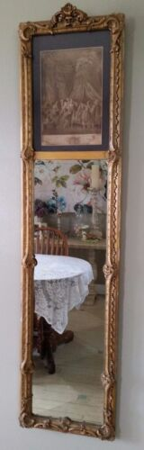 Antique Victorian Ornate Trumeau Wall Mirror Picture At Top Gold Gesso Frame Lg