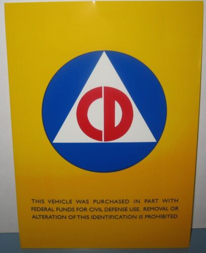 CIVIL DEFENSE VEHICLE 5X7 Inches AUTOMOBILE STICKER DECAL COLD WARReproductions - 156443