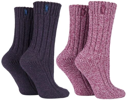Jeep - 2 Pack Ladies Thick Chunky Knitted Wool Hiking Socks for Walking Boots