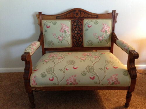 Antique Victorian Green Floral Upholstery Hand Carved Wood Settee Bench