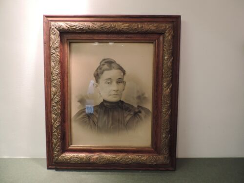Antique Picture Frame Wood Gilt Gesso 24 x 28 16 x 20  Charcoal Victorian Woman