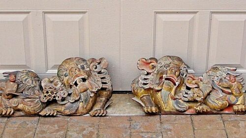 PAIR ANTIQUE 18c-19c LARGE CHINESE WOOD CARVED TEMPLE GARDIANS FOO-LION STATUES