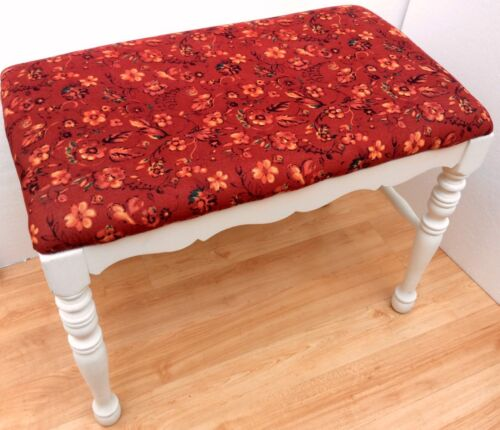 Vintage COLONIAL BENCH STOOL Ottoman Foot rest Newly Upholstered Ships FAST