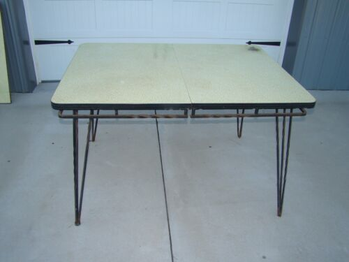 VINTAGE  ART DECO TABLE with WROUGHT IRON LEGS and YELLOW FORMICA TOP