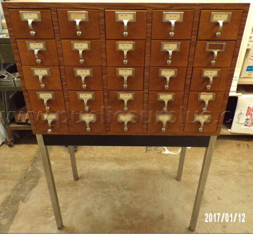 VINTAGE MID CENTURY LIBRARY CATALOG 25 DRAWERS CABINETS TRADING CARD STORAGE