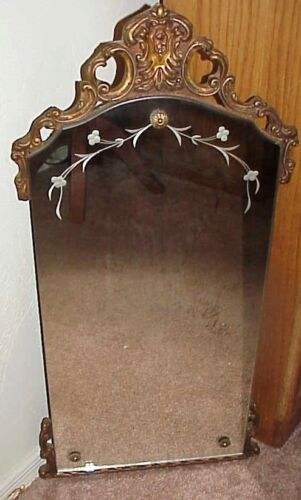 """ANTIQUE 28"""" X 14"""" CARVED WOOD FRAME ETCHED BEVELED GLASS ACCENT WALL MIRROR"""