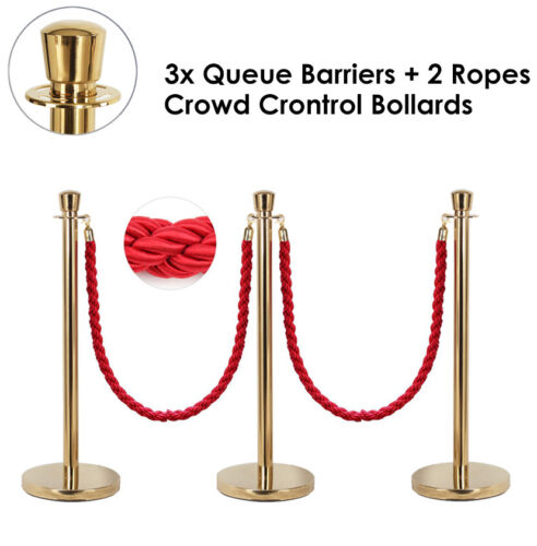 3x Queue Barriers + 2 Ropes Crowd Control Bollards Stands Classic Gold