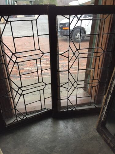 Sg 1324 Match Pair Antique Leaded Glass Window 20 5H By 40.5 W