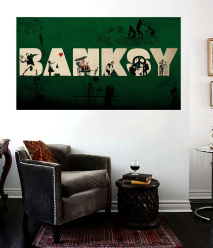 Banksy Compilation Collage Insane Street Art Canvas Print Huge 36 x 24 print