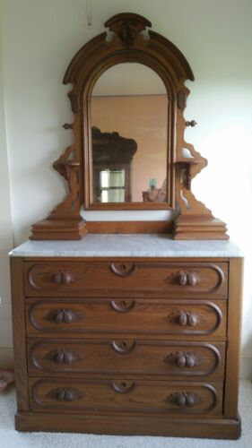 Antique Victorian Oak Marbletop Dresser with Mirror Carved Fruit ~Local Pick Up~