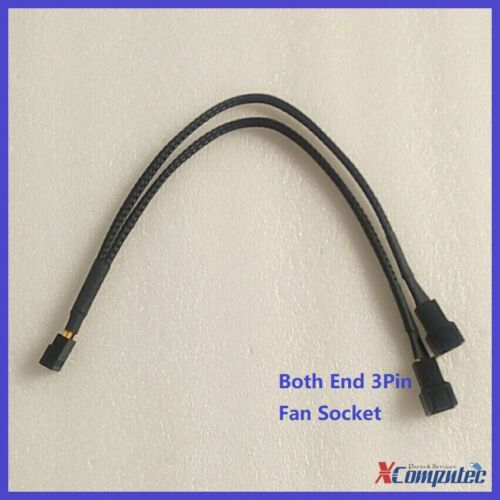 1-To-2 Ways Braided 3Pin Case Cooling Fan Power Y Split Cable Both End 3Pin 25cm
