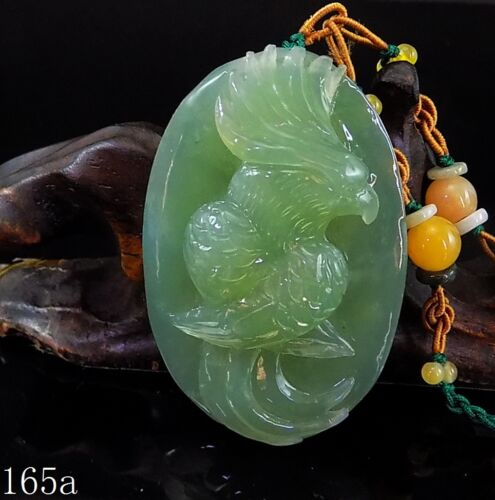 100% Natural Hand-carved Chinese Jade Pendant jadeite Necklace Parrot 165a