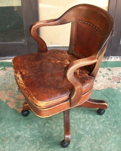 Vintage SIKES Company Deluxe Banker Judge Lawyer Office Arm Chair. Wood Leather