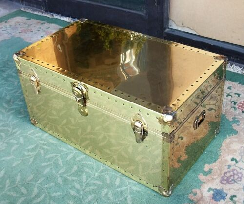 Brass Clad Foot Locker Storage Trunk Steamer. Mid Century Modern. Coffee Table.
