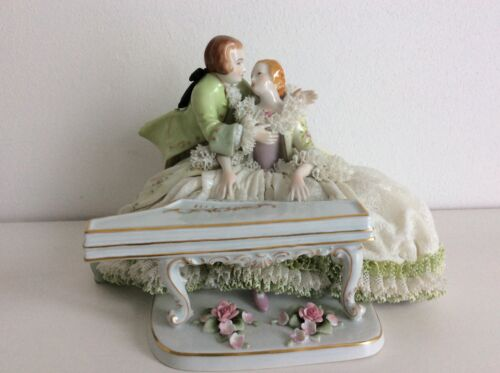 Lovely dresden China sitzendorf group playing piano porcelain figurine figure