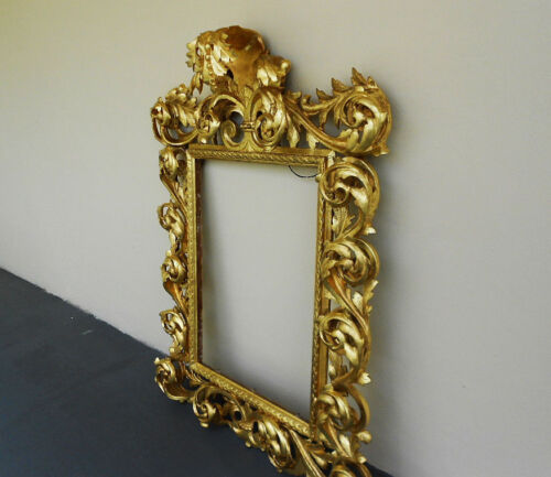 ANTIQUE 17th CENT WOOD CARVED SCROLL MIRROR FRAME GOLD GILT 22K LARGE 58""