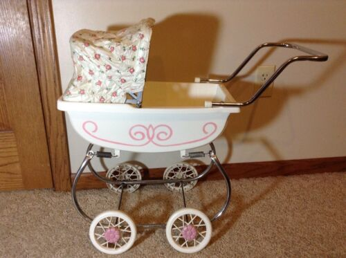 Vintage Doll Carriage - Stroller White And Pink
