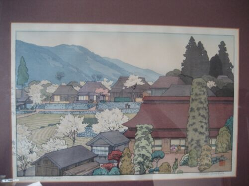 """VINTAGE """" VILLAGE OF PLUMS """" SIGNED WOODBLOCK PRINT BY TOSHI YOSHIDA"""