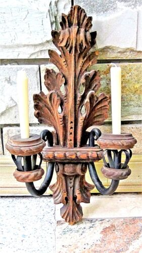 ANTIQUE SPANISH COLONIAL WOOD CARVED DOUBLE SCONCE CANDLEHOLDER