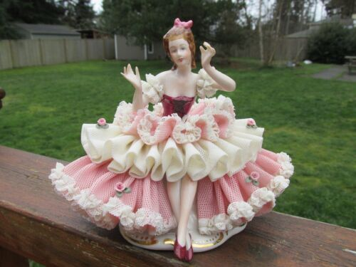 VINTAGE DRESDEN LACE LADY SITTING FIGURINE -CROWN D GERMANY-STUNNING !!