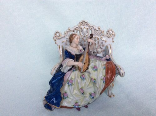 Lovely dresden sitzendorf group lady with dog at sofa porcelain figurine figure