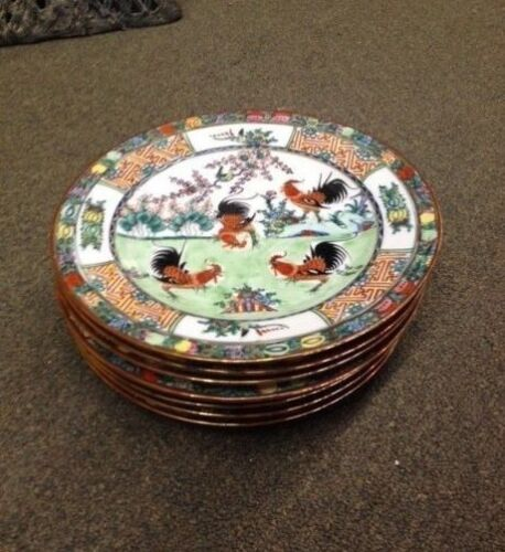 """Vintage, Plates, set (8), Porcelain,""""Rooster's"""", hand painted, post-1940, China"""