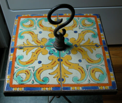 Old MISSION Arts & Crafts California D & M Art Pottery TILE Top Table IRON Stand