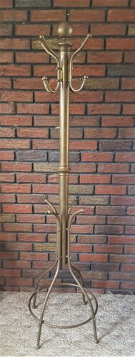 VINTAGE BRASS COAT STAND HALL TREE STAND HAT RACK GREAT PATINA HOLLYWOOD REGENCY