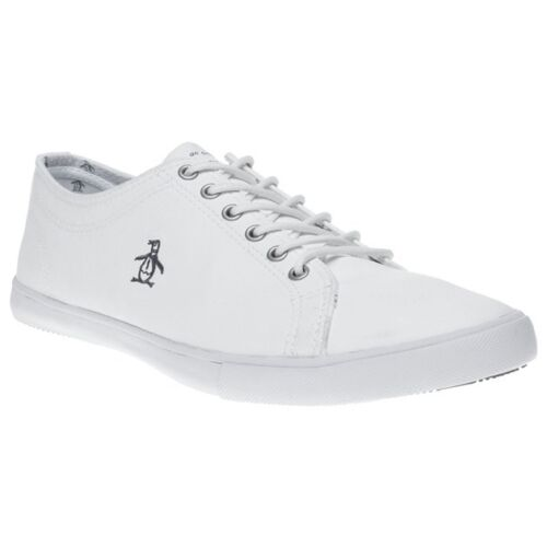 New Mens Penguin White Brewton Pu Trainers Plimsolls Lace Up