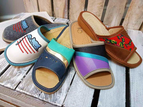 Women's ECO LEATHER FELT Slippers Shoe HOME Size 3 4 5 6 7 8 LIGHT WEIGHT (35-39
