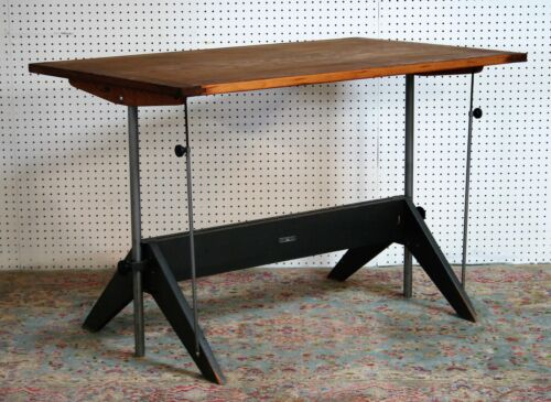 1950's vintage MAYLINE steel and maple DRAFTING TABLE solid COMPLETE good