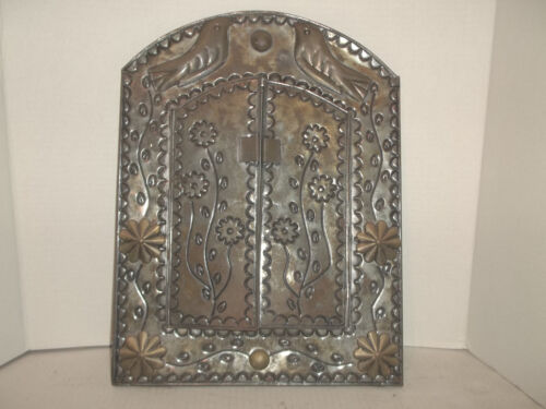 Vintage Punched Tin Tri Fold Mirror