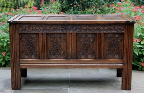 Antique French Gothic Revival Oak Blanket Box Chest Trunk Coffee Table Pegged