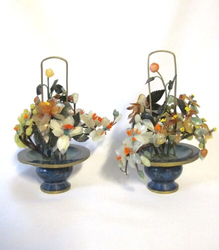 Chinese Pair of Cloisonne - hard stone planters (#901)