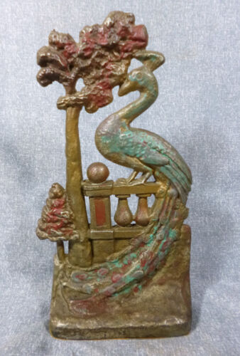 National Foundry No. 56 Peacock on Fence Cast Iron Doorstop