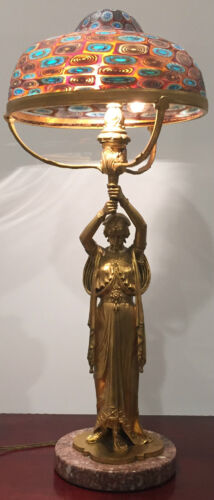ANTIQUE GILT BRONZE LAMP BY D. ALONZO WITH COLORFUL MILLEFIORE SHADE C.1920