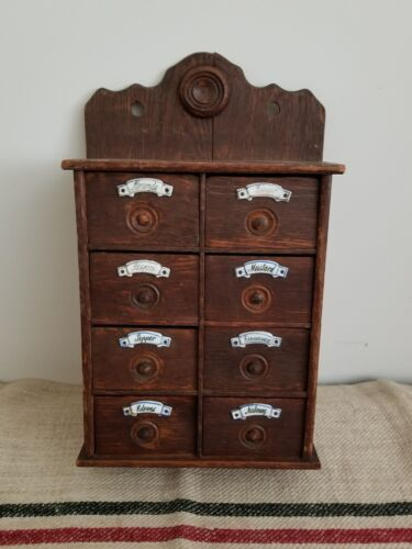 antique primitive AAFA Spice Box cabinet porcelain knobs Apothecary Herbs 19th c