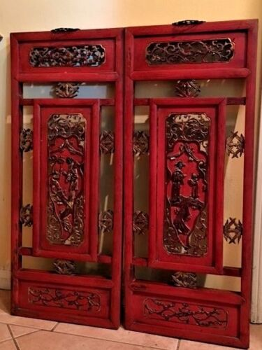 "Antique Chinese Red Lacquer Carved 2 Panel 13"" x 31"" Screens"
