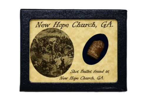 Shot Bullet Relic from New Hope Church, GA with Display Case and COABullets - 103996