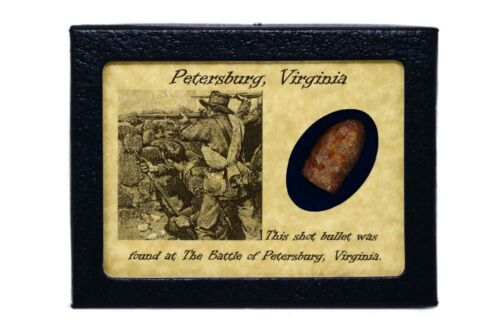 Shot Bullet Relic from Petersburg, Virginia with Display Case and COABullets - 103996