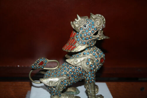 Vintage Chinese Foo Dog with Coral and Turquoise